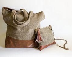 Brown Tote Bag Herringbone Bag Large Tote Bag by BirdsAreCurious