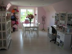 My Creative Cottage - Scrapbook.com  I LOVE this Pink room. BUT, ALL THOSE HATS MUST GO !