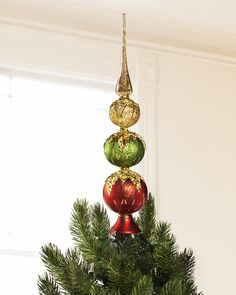 Red Green Gold Tree Topper | Balsam Hill