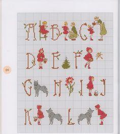 Little Red Riding Hood cross stitch alphabet 1 of 2 Cross Stitch Letters, Cross Stitch For Kids, Cross Stitch Love, Cross Stitch Samplers, Cross Stitch Designs, Cross Stitching, Cross Stitch Embroidery, Embroidery Alphabet, Embroidery Patterns
