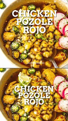 This authentic Mexican soup made with flavorful hominy, chicken and and a red chili sauce is the best spicy family meal. Loaded with zesty flavor and ready in 45 minutes or make ahead for a quick weeknight dinner. Easy Pozole Recipe, Albondigas Soup Recipe Mexican, Posole Recipe Chicken, Spicy Chicken Recipes, Vegetable Soup Recipes, Italian Soup Recipes, Mexican Food Recipes, Dinner Recipes, Kitchen Recipes