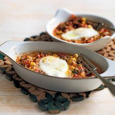 Spanish-inspired Flamenco Eggs tapas recipe with garlic and onions