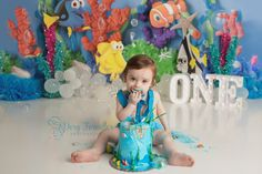 Sea Cakes, Cake Smash, Dory, Under The Sea, Engagement Photography, Birthday Cake, Children, Young Children, Boys