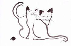 DESSIN Chats animaux encre de chine expressionnisme, Exp Animaux Encre de Chine  - Chat expressionniste