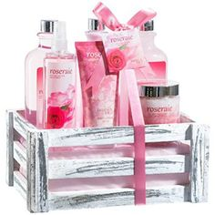 Pink Rose Bath Gift Set: body mist spray,body lotion,bath salts, shower gel, hand cream, bubble bath!  The best gift ideas for a Pisces are ones that will they will use and enjoy.  In fact Pisces enjoy all things beautiful therefore consider Pisces jewelry gift ideas, Pisces home décor and Pisces beauty and fashion zodiac gifts.