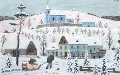 Billedresultat for josef lada Primitive Painting, Winter's Tale, Illustration Art, Illustrations, Art Boards, Folk Art, Fairy Tales, The Past, Calendar