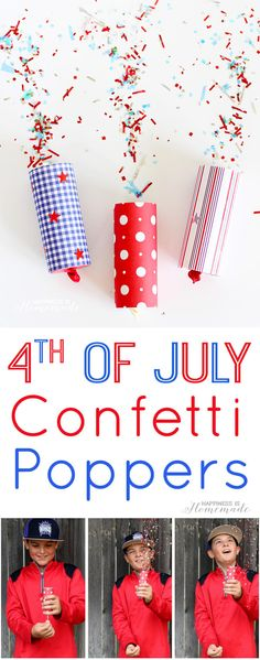 Diy Confetti Poppers For Of July - Easy Of July Kids Craft, And A Great Alternative To Sparklers For The Tiny Tots Happiness Is Homemade Confetti Poppers, Diy Confetti, 4th Of July Party, July 4th, Fourth Of July Crafts For Kids, Japanese Paper, Nouvel An, Sparklers, Diy Paper