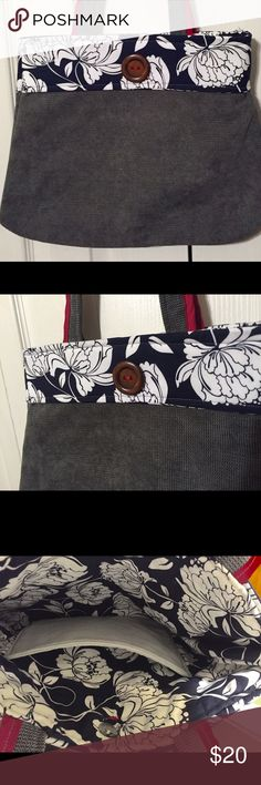 Purse Handmade purse made of gray suede and red trim. Navy and white flowers Bags Shoulder Bags