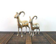 vintage midcentury brass ram figurines by compostthis, $58.00