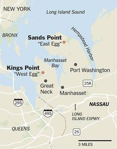 Fitzgerald's Long Island: Kings Point end of the Great Neck Peninsula (West Egg - Gatsby's Estate) and Sands Point end of the Washington Peninsula (East Egg - Buchanan Mansion). F Scott Fitzgerald, The Great Gatsby Fitzgerald, Teaching Literature, Teaching Resources, Classroom Resources, Estilo Gatsby, West Egg, Great Neck, High School English