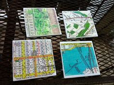Made to Order - 4 Ceramic Vintage Map Coasters - Select from New York  Boston  Chicago Washington,D.C.  San Francisco  London  or Paris on Etsy,