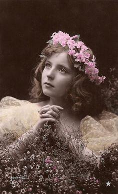 1900s Original Antique French Belle Epoque Hand Tinted Photo Postcard by Stebbing of Paris… Edwardian Children Adorable Young Girl Romantic Dreamy Floral Portrait