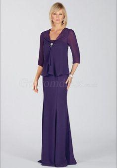 purple Wrap zipper back Chiffon Mermaid Mother of the Bride Dresses picture 1