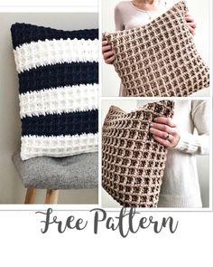 Crochet Pillow Cases, Crochet Pillow Pattern, Crochet Beanie Pattern, Pillowcase Pattern, Easy Crochet Patterns, Cushion Cover Pattern, Crochet Cushion Cover, Crochet Cushions, Crochet Waffle Stitch