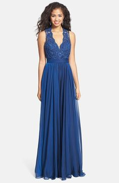 La Femme Cutout Back Lace & Chiffon Gown at Nordstrom. A bit too scandalous in the back and WAY too expensive, but I tried this on and it is drop dead gorgeous.
