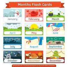 Free printable months flash cards. Download them in PDF format at http://flashcardfox.com/download/months-flash-cards/