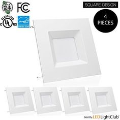 4 Pack  6inch LED Square Downlight LED Trim 15W Square Recessed Light Retrofit LED Recessed Lighting Fixture Dimmable Retrofit Kit Down Light 5000K Day Light LED Ceiling Light -- Details on product can be viewed by clicking the image