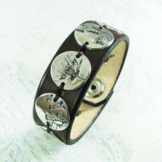 Winter Soul, PMC OOAK Jewelry, Fine Silver and Leather Cuff, Natural Plant Impressions, Artisan Handmade Bracelet