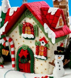 Bucilla Mary's Snow Cottage ~ Felt Christmas Home Decor Kit House Christmas Village Houses, Christmas Gingerbread House, Felt Christmas Ornaments, Christmas Villages, Christmas Home, Christmas Cookies, Christmas Stockings, Christmas Crafts, Christmas Decorations
