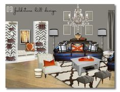 design board :: a neutral room with a flexible punch color. design by Fieldstone Hill Design