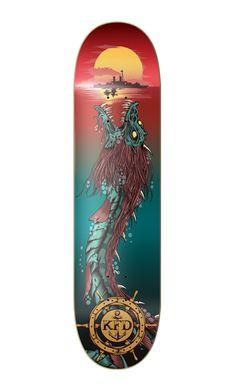 KFD - Deep Sea Death by One Horse Town Illustration Studio, via Behance Longboard Design, Skateboard Design, Skateboard Art, Old School Skateboards, Cool Skateboards, Best Skateboard Decks, Skates, Chihiro Cosplay, Graffiti Doodles