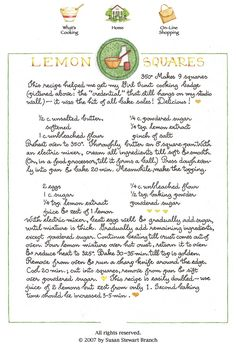 Lemon squares by Susan Branch