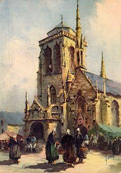 Yvon Le Bras ~ Église et Marché de Locronan, 1950 ~ Bretagne, Finistère
