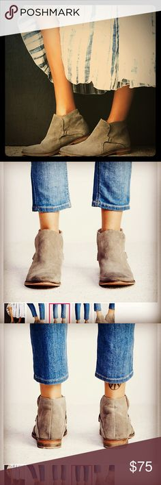 Summit Ankle Boot by Free People in TAN Suede Free People Boots $168  Vintage inspired, tan, genuine suede ankle boots, that have been individually hand washed to achieve a worn-in look and feel. Easy slip-on surplice design with hidden elastic gusset. Each pair will vary due to the hand washing technique used.  This vintage-inspired style has been handcrafted to reflect the look of an aged wear. The scuffing, marking and washed effects give this shoe its own unique characteristics. Very…
