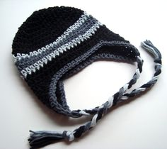 Boys Cotton Crochet Earflap Beanie Hat with Ties-Custom Made in Your Color Choices-MADE TO ORDER