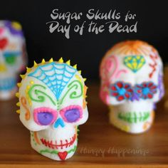 Even though the Halloween festivities have come to a close, Nov. marks the beginning of the Mexican holiday, Dia de los Muertos. Calaveras, or sugar skulls, are a traditional sweet offering left for the deceased at their grave site. Holiday Treats, Halloween Treats, Holiday Recipes, Halloween Party, Halloween Stuff, Fun Recipes, Halloween Kids, Halloween Makeup, Drink Recipes