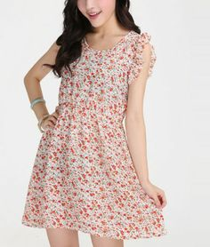 Crewneck Lotus Floral Dress