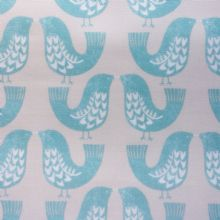 Scandi Birds Matt Oilcloth in Aqua
