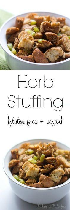 Herb Stuffing {gluten free + vegan} | Making it Milk-free