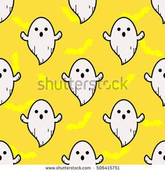 Ghost yellow pattern. Ghost background. Ghost texture. Ghost doodle. Ghost cartoon. Ghost art. Ghost emojie character. Cute little cartoon ghosts. Seamless pattern. Raster illustration.