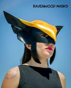 Hawkgirl cosplay leather mask Halloween costume by Ravenwood Masks