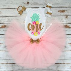 Pineapple Party First Birthday Outfit Girl One Cake Smash Tropical Hibiscus Luau Tutu Onesies® brand by Gerber® Carters babymaes.com original design