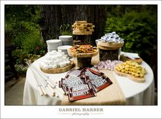 s'mores table for the engagement party