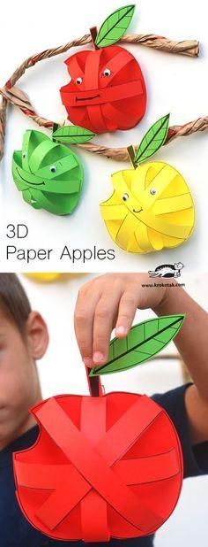 Paper Apples for a preschool or kindergarten Apple Unit Apple Activities, Autumn Activities, Preschool Activities, Children Activities, Preschool Learning, 3d Paper, Paper Crafts, Paper Toys, Projects For Kids