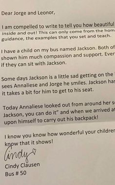 After Witnessing a Kid's Act of Kindness, This Bus Driver Wrote the Sweetest Note Home