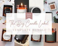 Candle Label BIG Template Bundle Custom Product Label | Etsy Minimalist Candles, Big Candles, Florist Logo, Classic Candles, Candle Labels, Personalized Candles, Christmas Templates, Label Templates, Printing Labels