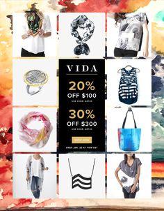 Big Sale!  20% off $100 or 30% $300 https://shopvida.com/collections/lloydgoldstein2003 Gran venta! 20 % de descuento $ 100 O 30 % $ 300