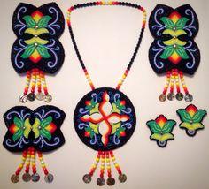 Floral Native American beadwork set created by Selu Kateri Vargas