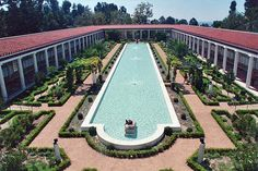 The Getty Villa - the design was inspired by the Villa of the Papyri at Herculaneum & incorporated additional details from several other ancient sites.