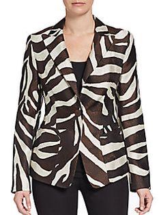 Silk/Cotton Zebra Striped Blazer