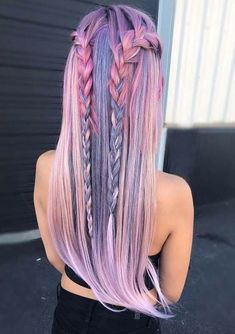 Trendy Hair Color Crazy Pastel Braids 23 Ideas - Most stylish hairstyles Cute Hair Colors, Beautiful Hair Color, Hair Dye Colors, Cool Hair Color, Amazing Hair Color, Loose Hairstyles, Pretty Hairstyles, Braided Hairstyles, Hairstyle Ideas