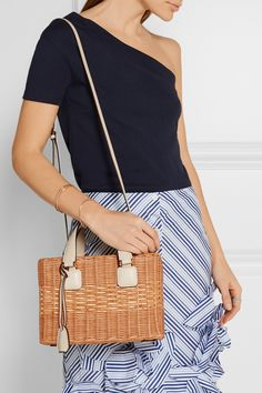 Mark Cross | Manray small textured leather-trimmed rattan tote | NET-A-PORTER.COM