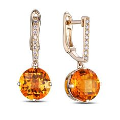 Favo - Citrine Diamond Rose Gold Earring