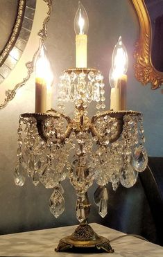 A lovely vintage brass candelabra with lots of lovely vintage and antique crystal prisms. Chandelier Table Lamp, Chandelier Bedroom, Antique Chandelier, Kitchen Chandelier, Crystal Candelabra, Chandelier Crystals, Lamp Inspiration, Altar, Diy Crystals