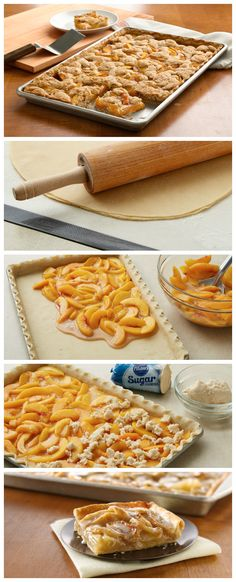 Here's a crowd-size option, Peach Slab Pie! Made with pie crust, cookie dough and fresh peaches, it doesn't get any better than this. I use apple pie filling and works great. I prefer a pie crust top over the cookie dough but both are good! 55 min at 375 13 Desserts, Dessert Recipes, Pastry Recipes, Yummy Treats, Sweet Treats, Yummy Food, Peach Slab Pie, Peach Pie Bars, Pillsbury Recipes
