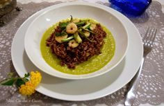 Riso Ermes verdure croccanti gamberi e vellutata di zucchine allo zafferano  e 2